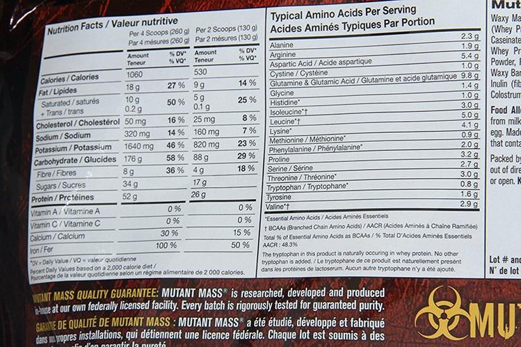 mutant mass ingredients