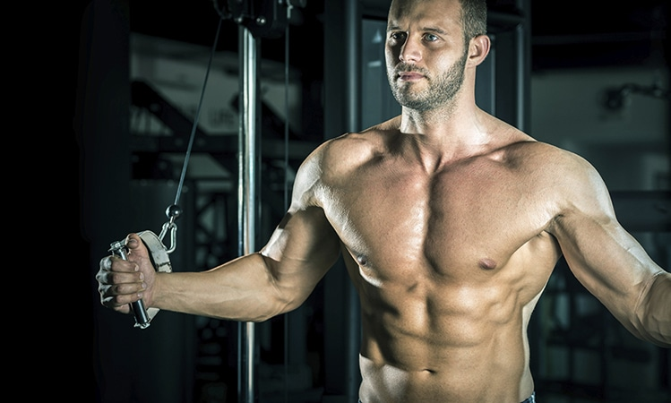 muscular guy lifting weights