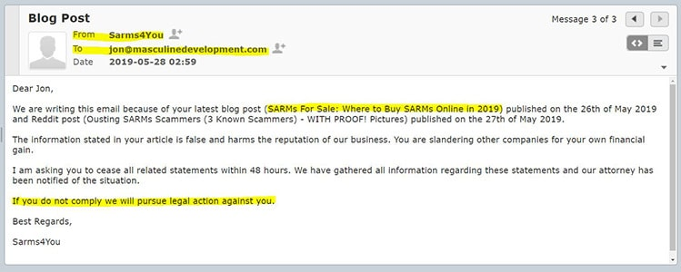 sarms4you lawsuit email